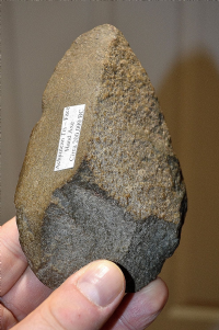 "A nice and decent sized Paleolithic Mid-Late Acheulian ""Tri-hedral"" stone hand axe from North Africa. SOLD"